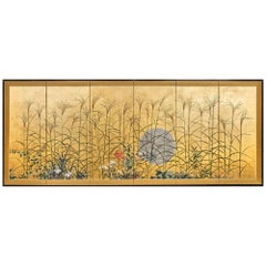 Japanese Six Panel Screen Moon Over the Plains of Musashino