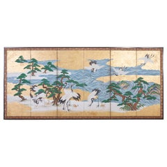 Japanese Six Panel Screen of Cranes by the Sea