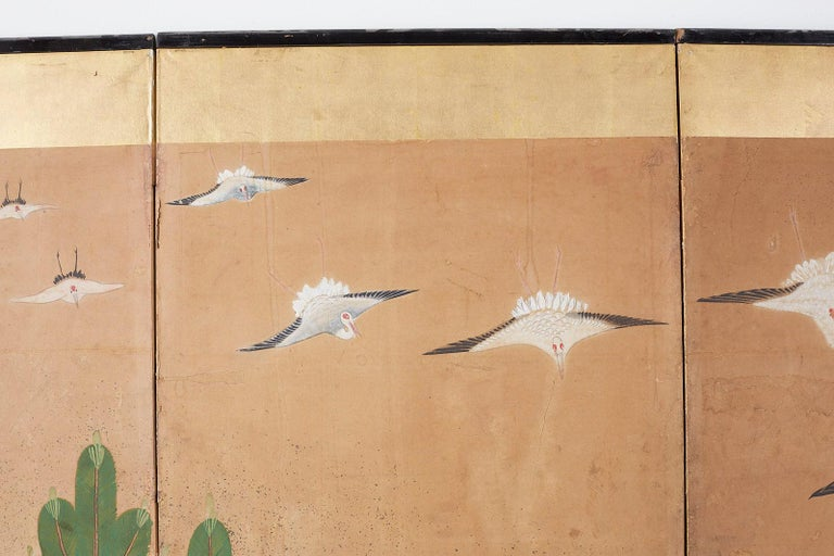 Japanese Six-Panel Screen of Cranes in Flight For Sale 4