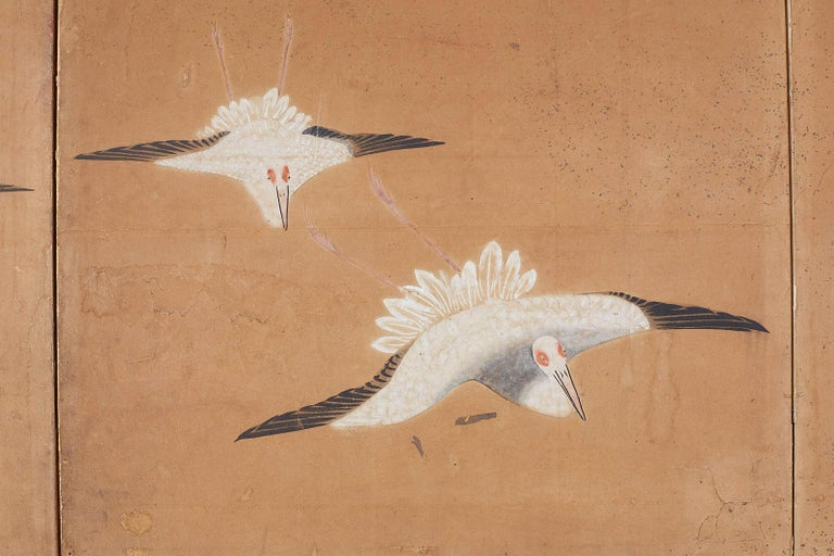 Japanese Six-Panel Screen of Cranes in Flight For Sale 6