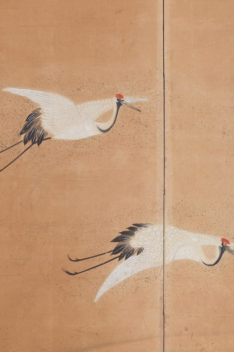 Japanese Six-Panel Screen of Cranes in Flight For Sale 9