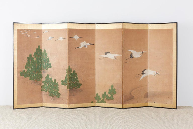 Japanese Six-Panel Screen of Cranes in Flight For Sale 10