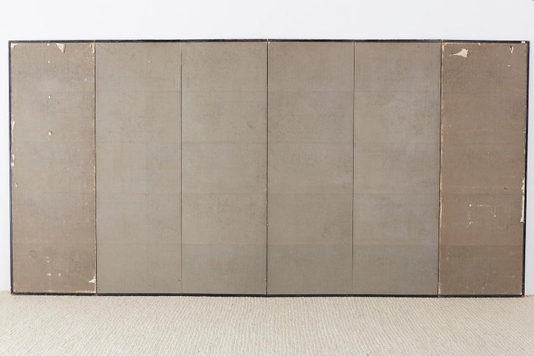 Japanese Six-Panel Screen of Cranes in Flight For Sale 11