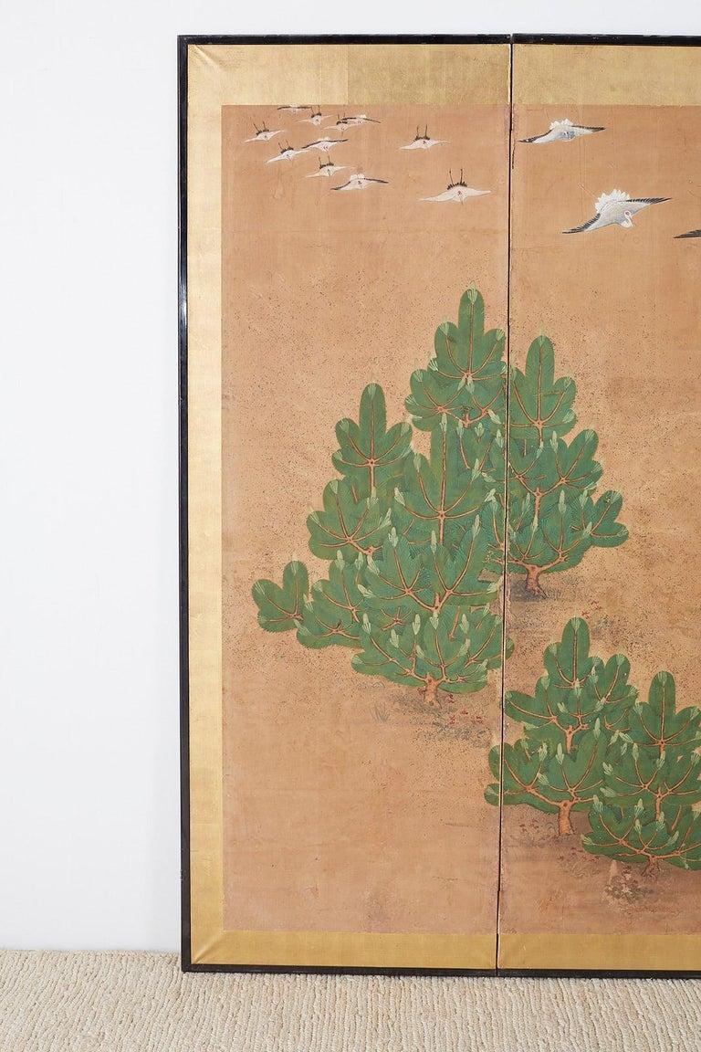 Meiji Japanese Six-Panel Screen of Cranes in Flight For Sale