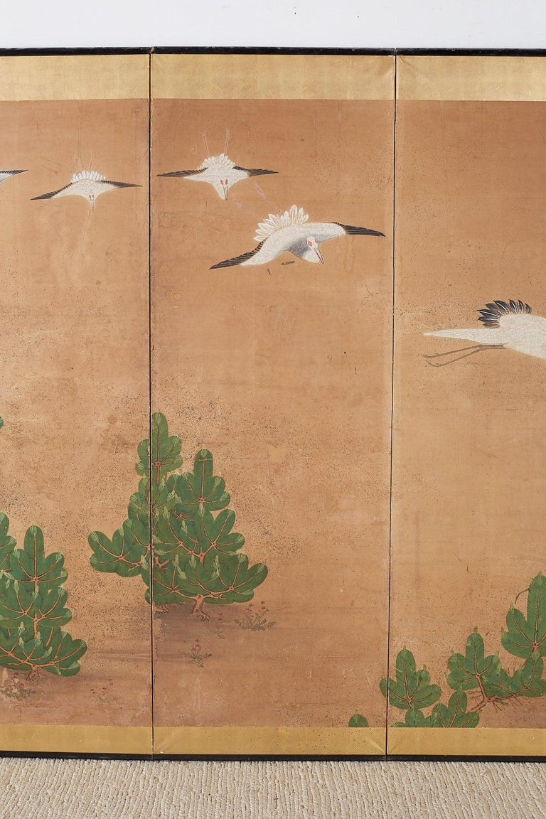 Japanese Six-Panel Screen of Cranes in Flight In Distressed Condition For Sale In Oakland, CA