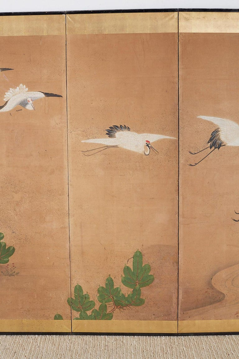 20th Century Japanese Six-Panel Screen of Cranes in Flight For Sale