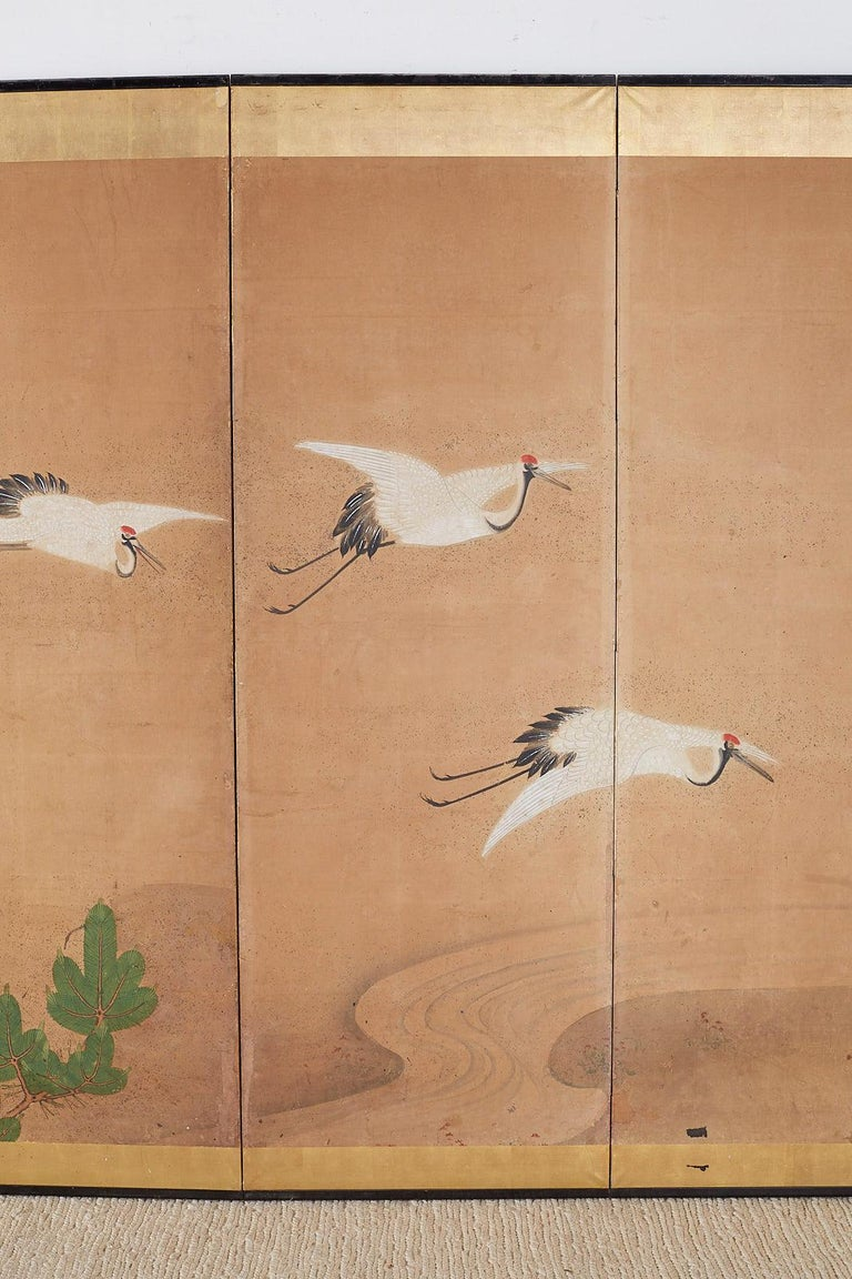 Wood Japanese Six-Panel Screen of Cranes in Flight For Sale