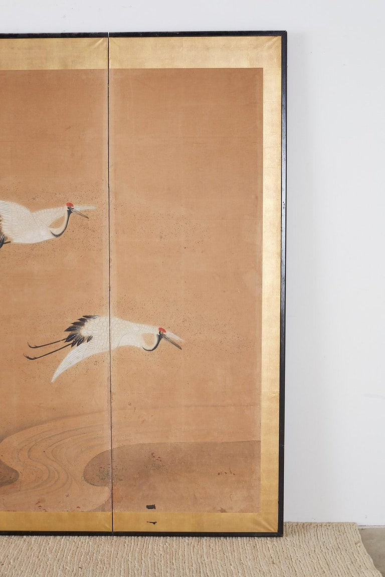 Japanese Six-Panel Screen of Cranes in Flight For Sale 1