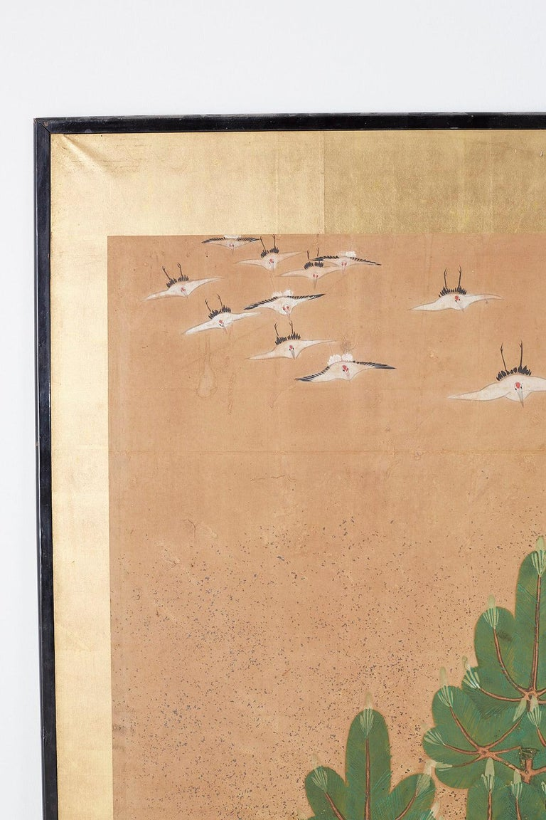 Japanese Six-Panel Screen of Cranes in Flight For Sale 2