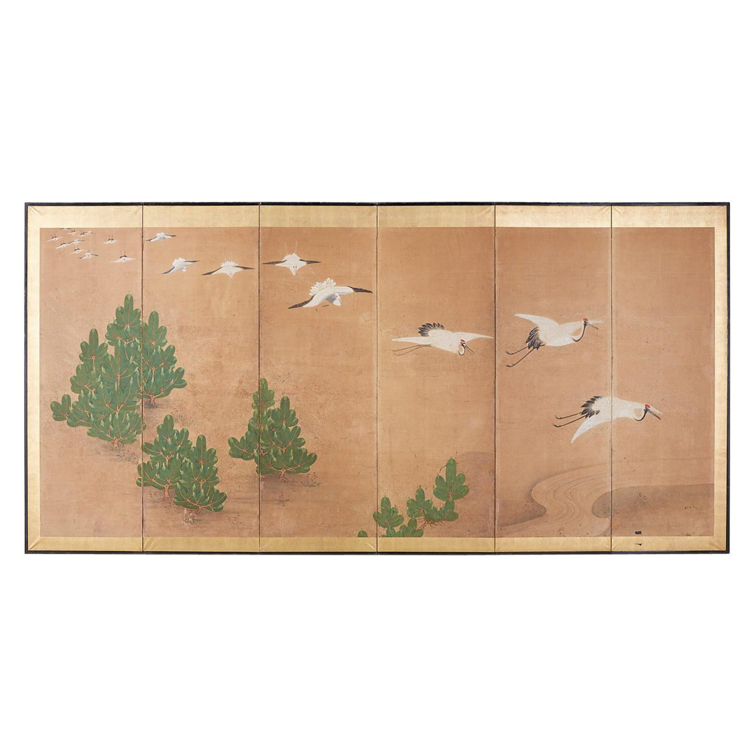 Japanese Six-Panel Screen of Cranes in Flight