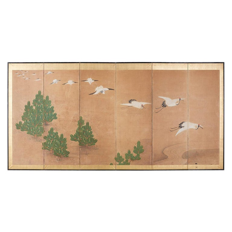 Japanese Six-Panel Screen of Cranes in Flight For Sale
