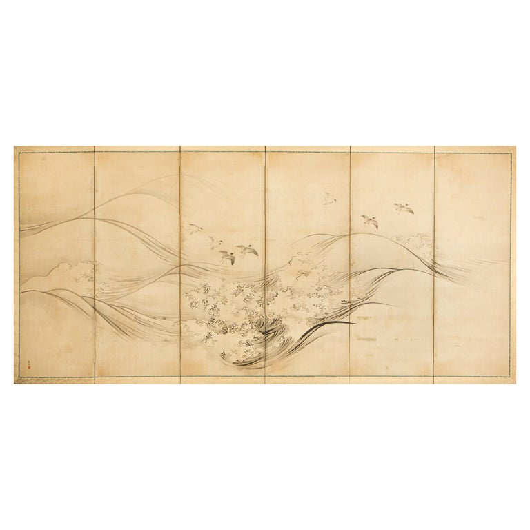 Japanese Six-Panel Screen, Open Ocean For Sale