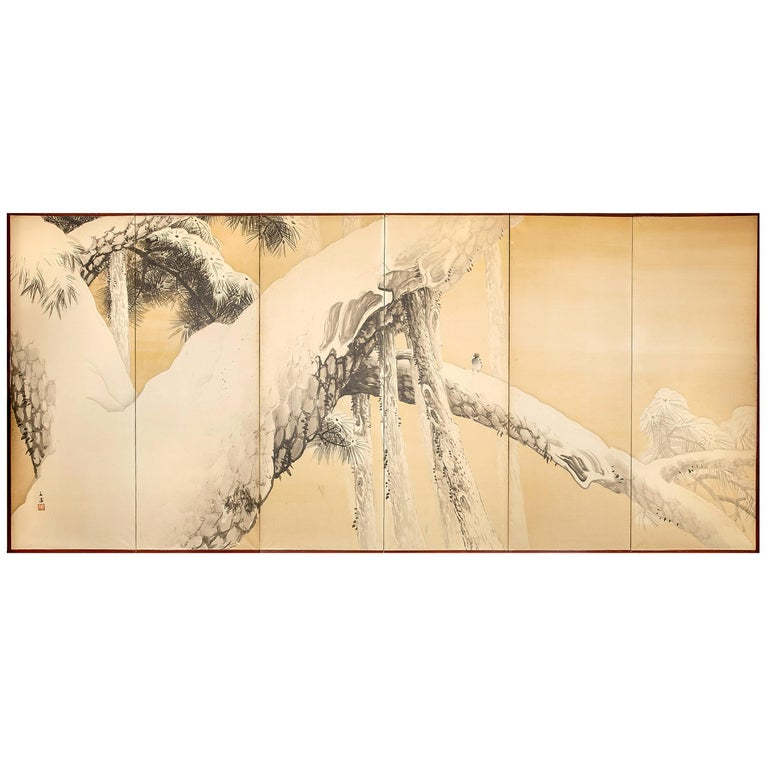 Japanese Six-Panel Screen, Pine in Winter For Sale