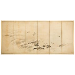 Japanese Six-Panel Screen Plovers in Flight Over Coastal Landscape