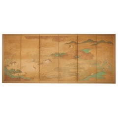 Japanese Six Panel Screen, Quails in a Gentle Landscape