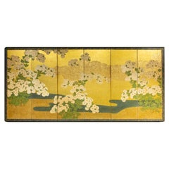 Japanese Six-Panel Screen, Rimpa School Chrysanthemums on Gold