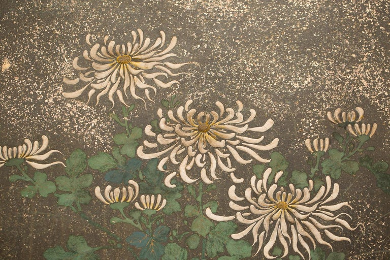 Edo Japanese Six-Panel Screen Rimpa School Chrysanthemums on Silver and Gold For Sale