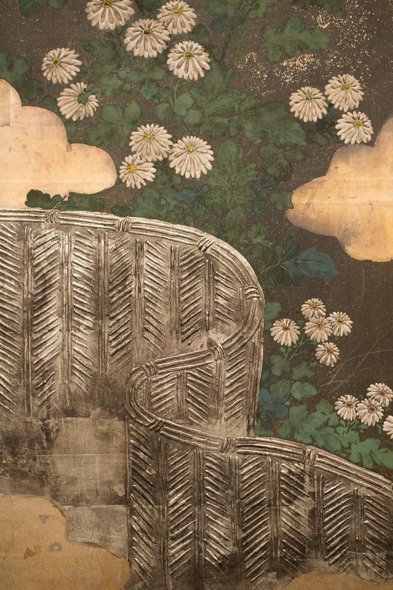 Japanese Six-Panel Screen Rimpa School Chrysanthemums on Silver and Gold In Good Condition For Sale In Hudson, NY