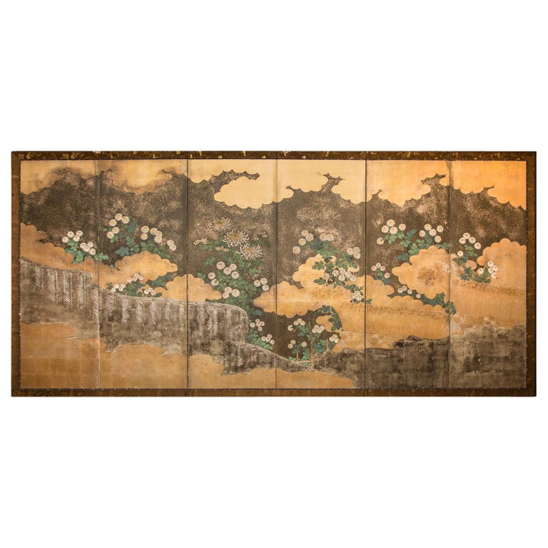 Japanese Six-Panel Screen Rimpa School Chrysanthemums on Silver and Gold For Sale