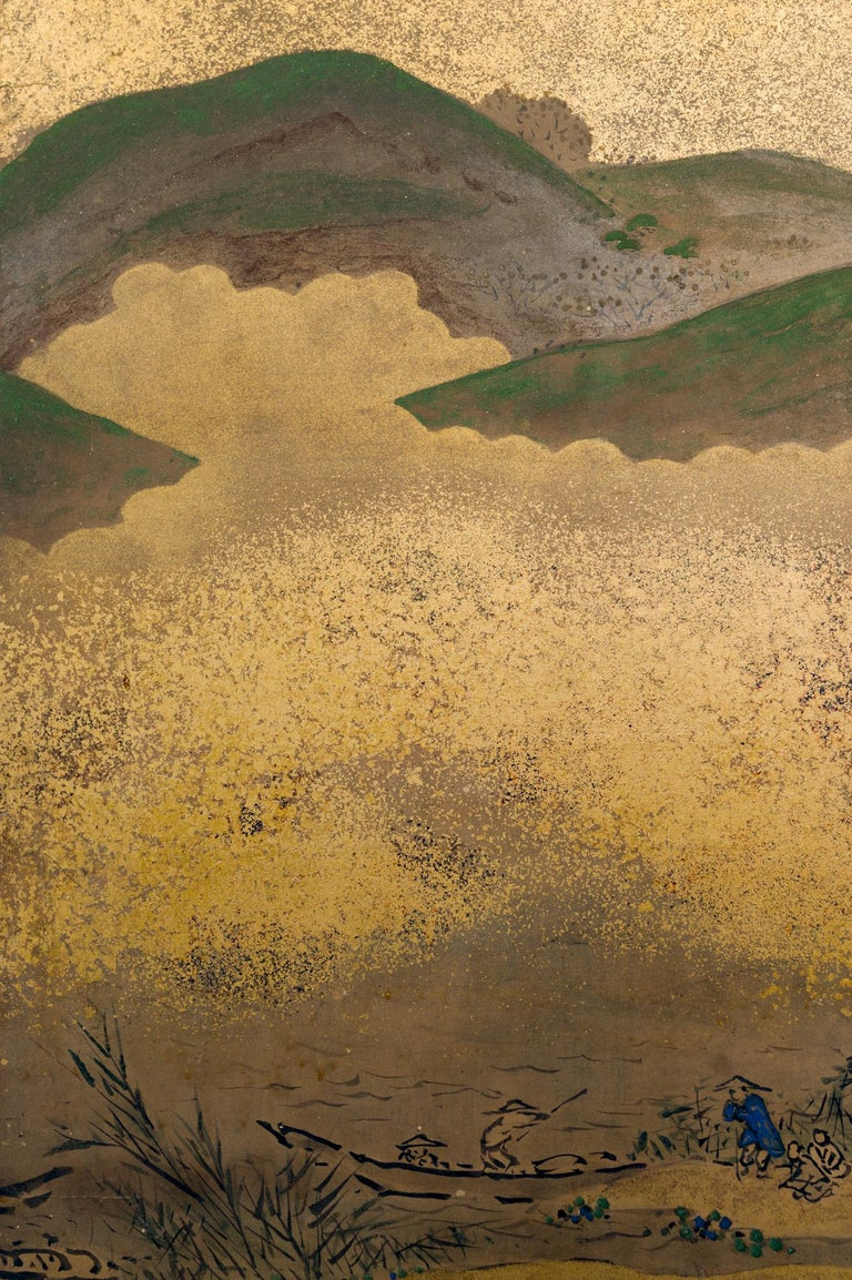 Japanese Six Panel Screen: Rolling Country Landscape For Sale 3