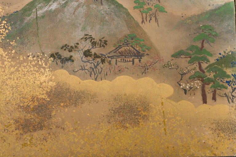 Edo Japanese Six Panel Screen: Rolling Country Landscape For Sale