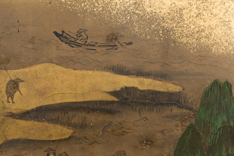Hand-Painted Japanese Six Panel Screen: Rolling Country Landscape For Sale