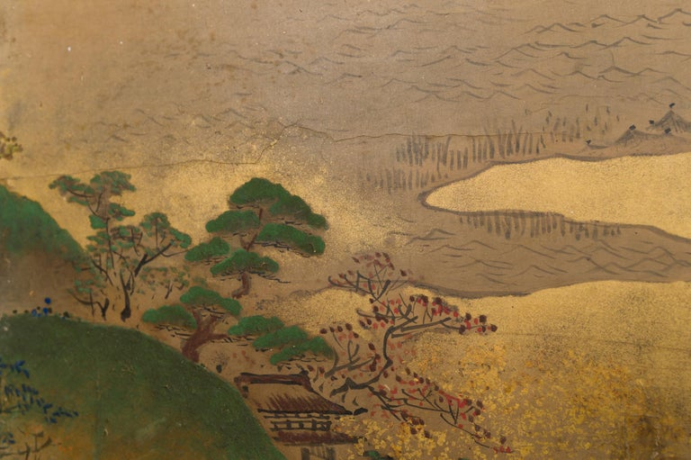 Japanese Six Panel Screen: Rolling Country Landscape In Good Condition For Sale In Hudson, NY