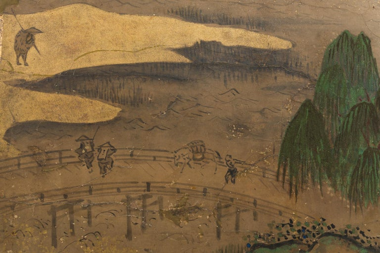 19th Century Japanese Six Panel Screen: Rolling Country Landscape For Sale