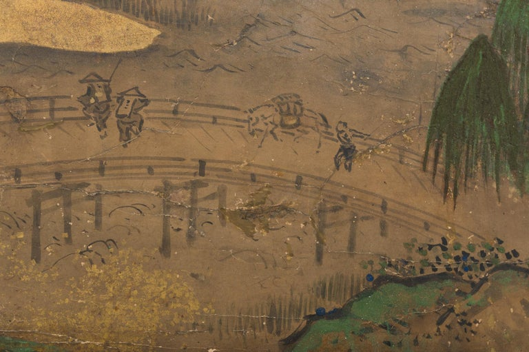 Gold Leaf Japanese Six Panel Screen: Rolling Country Landscape For Sale