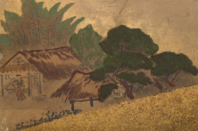 Japanese Six Panel Screen: Rolling Country Landscape For Sale 1