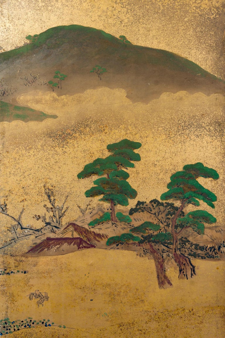 Japanese Six Panel Screen: Rolling Country Landscape For Sale 2