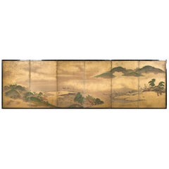 Japanese Six Panel Screen: Rolling Country Landscape