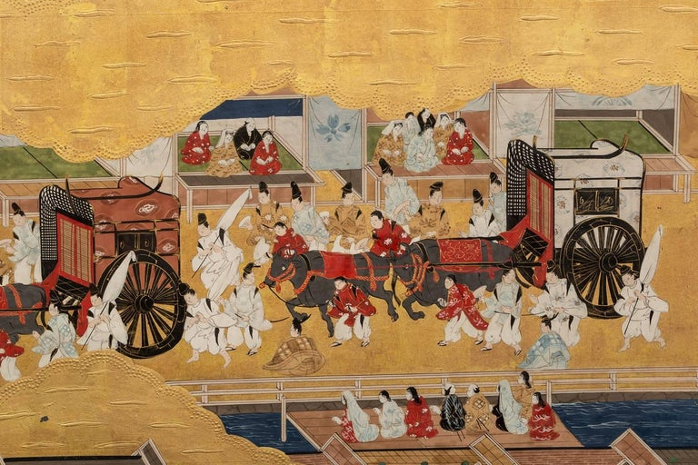 Japanese Six Panel Screen: Scenes from Kyoto For Sale 5