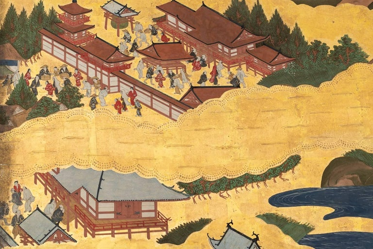 Japanese Six Panel Screen: Scenes from Kyoto In Good Condition For Sale In Hudson, NY