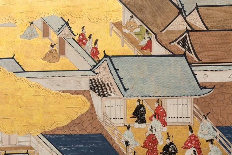 18th Century and Earlier Japanese Six Panel Screen: Scenes from Kyoto For Sale