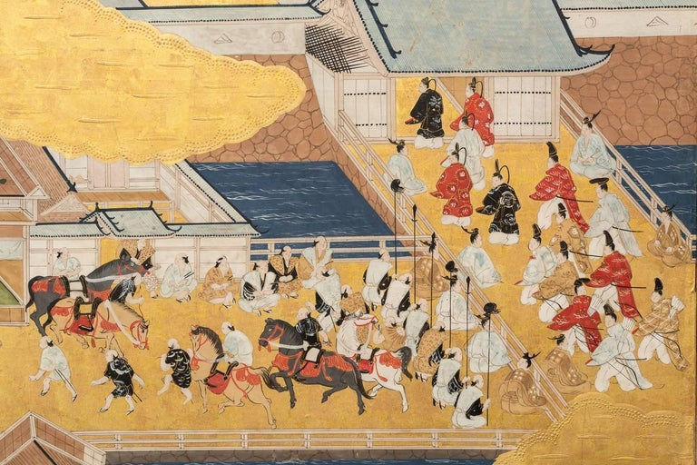 Gold Leaf Japanese Six Panel Screen: Scenes from Kyoto For Sale