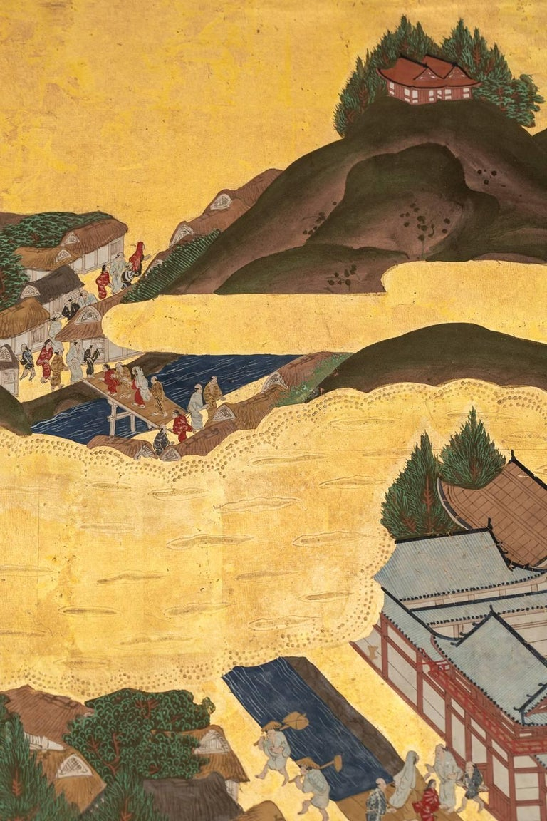 Japanese Six Panel Screen: Scenes from Kyoto For Sale 1