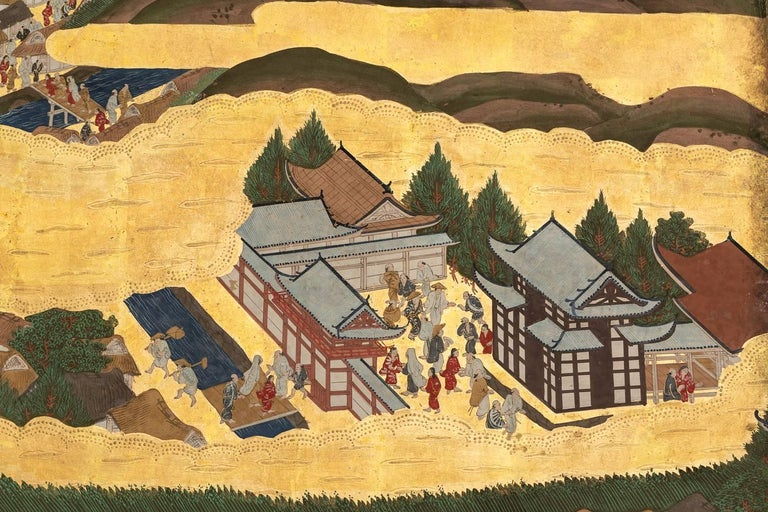 Japanese Six Panel Screen: Scenes from Kyoto For Sale 2