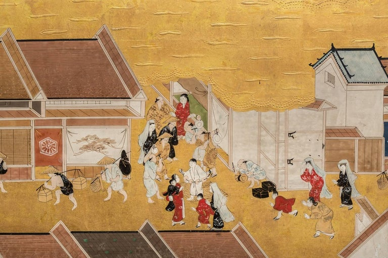 Japanese Six Panel Screen: Scenes from Kyoto For Sale 3