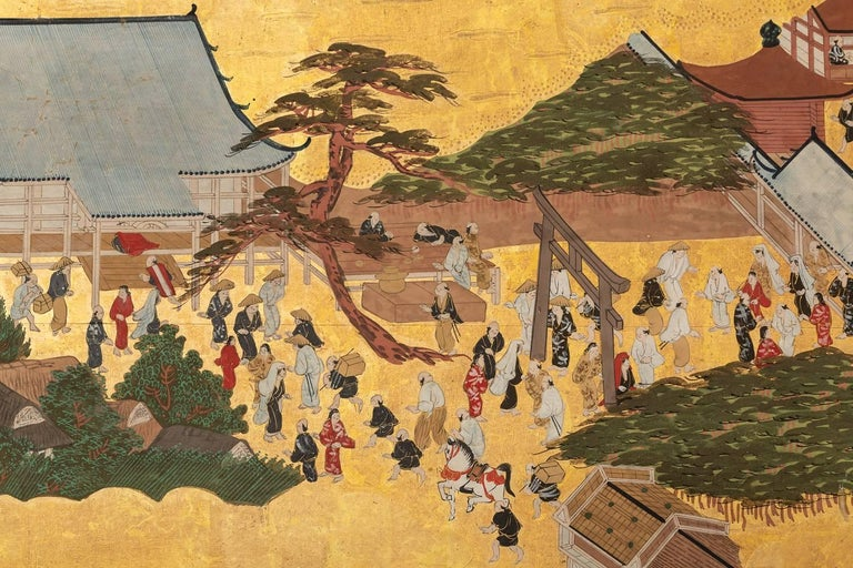 Japanese Six Panel Screen: Scenes from Kyoto For Sale 4