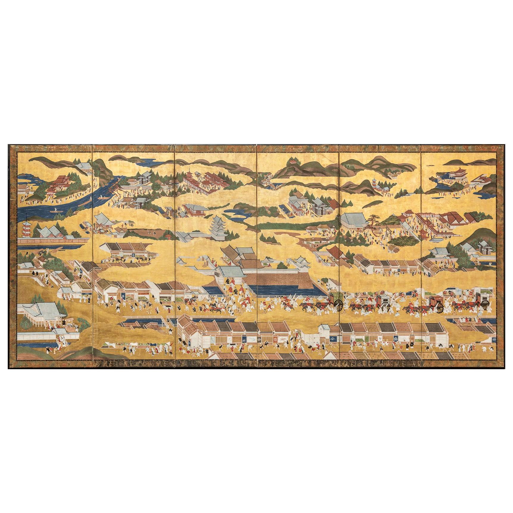 Japanese Six Panel Screen: Scenes from Kyoto