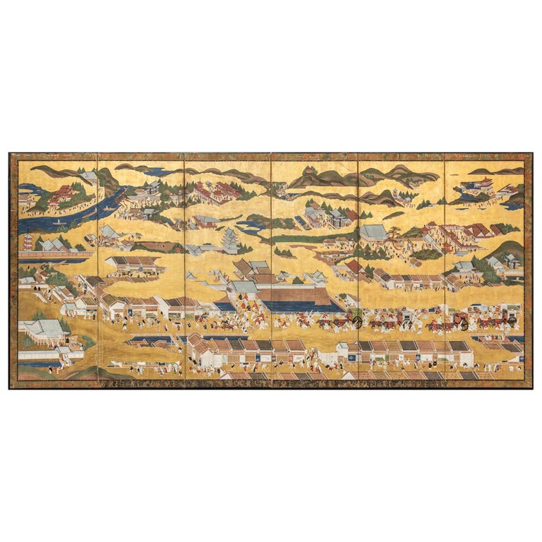 Japanese Six Panel Screen: Scenes from Kyoto For Sale