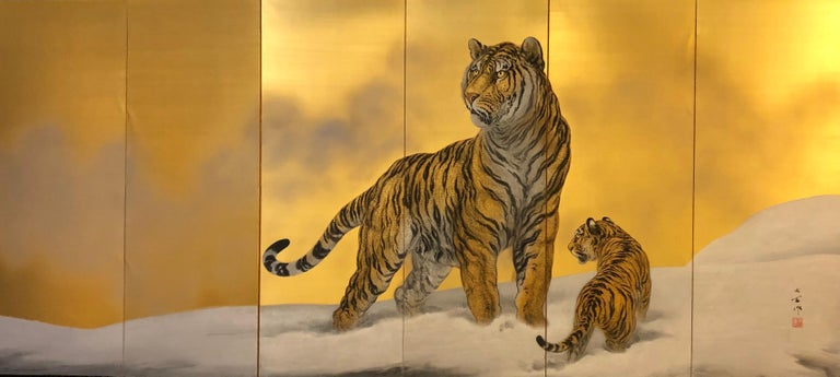 Japanese six-panel screen Siberian tigers by Goseki Mio (1884-1944). Mineral pigments and gold dust on silk.