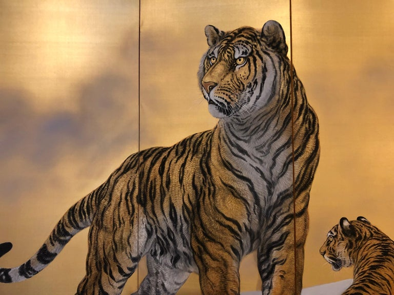 Japanese Six-Panel Screen Siberian Tigers In Good Condition In Hudson, NY