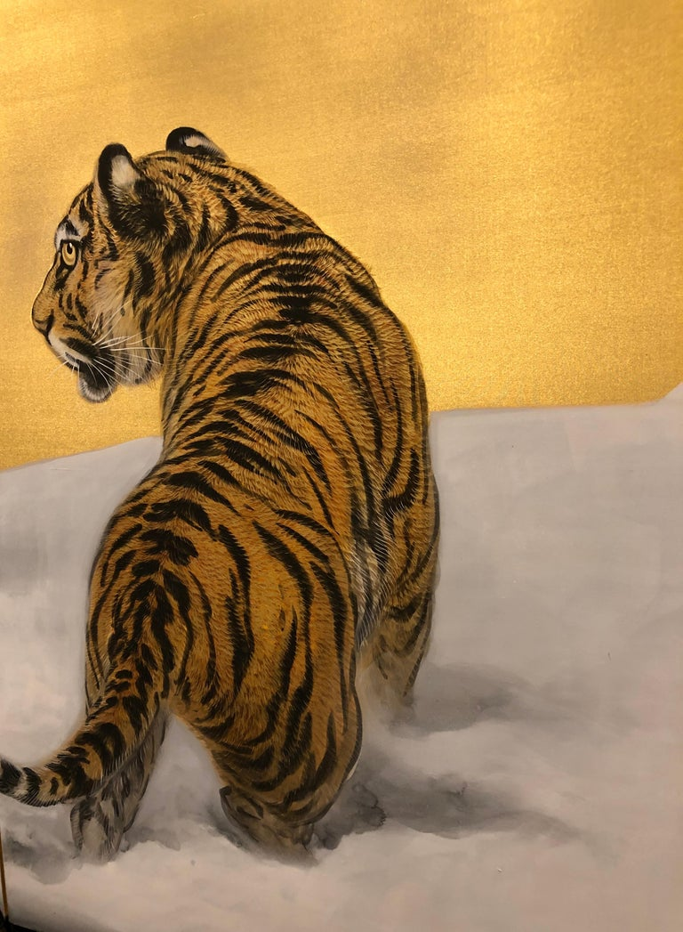 Gold Japanese Six-Panel Screen Siberian Tigers