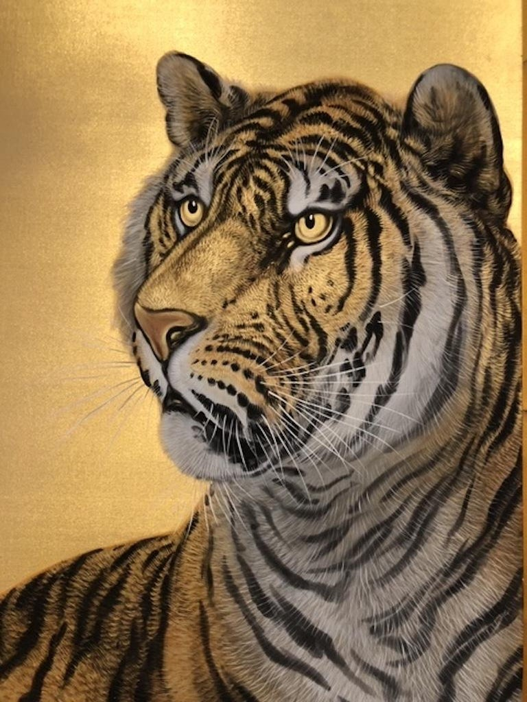 Early 20th Century Japanese Six-Panel Screen Siberian Tigers