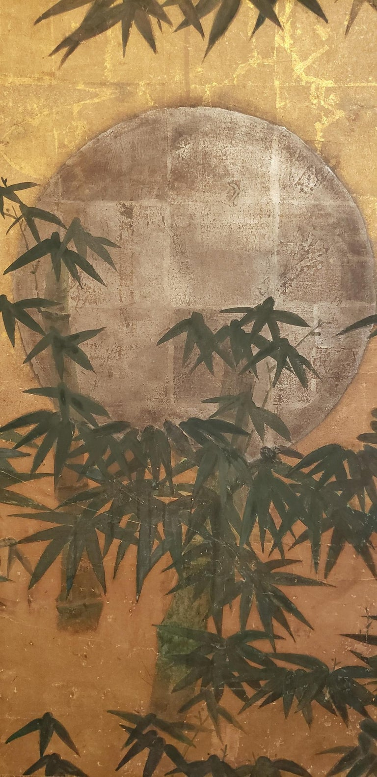 Japanese Six-Panel Screen, Silver Moon and Bamboo on Gold In Good Condition For Sale In Hudson, NY