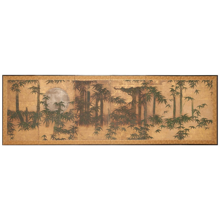 Japanese Six-Panel Screen, Silver Moon and Bamboo on Gold For Sale