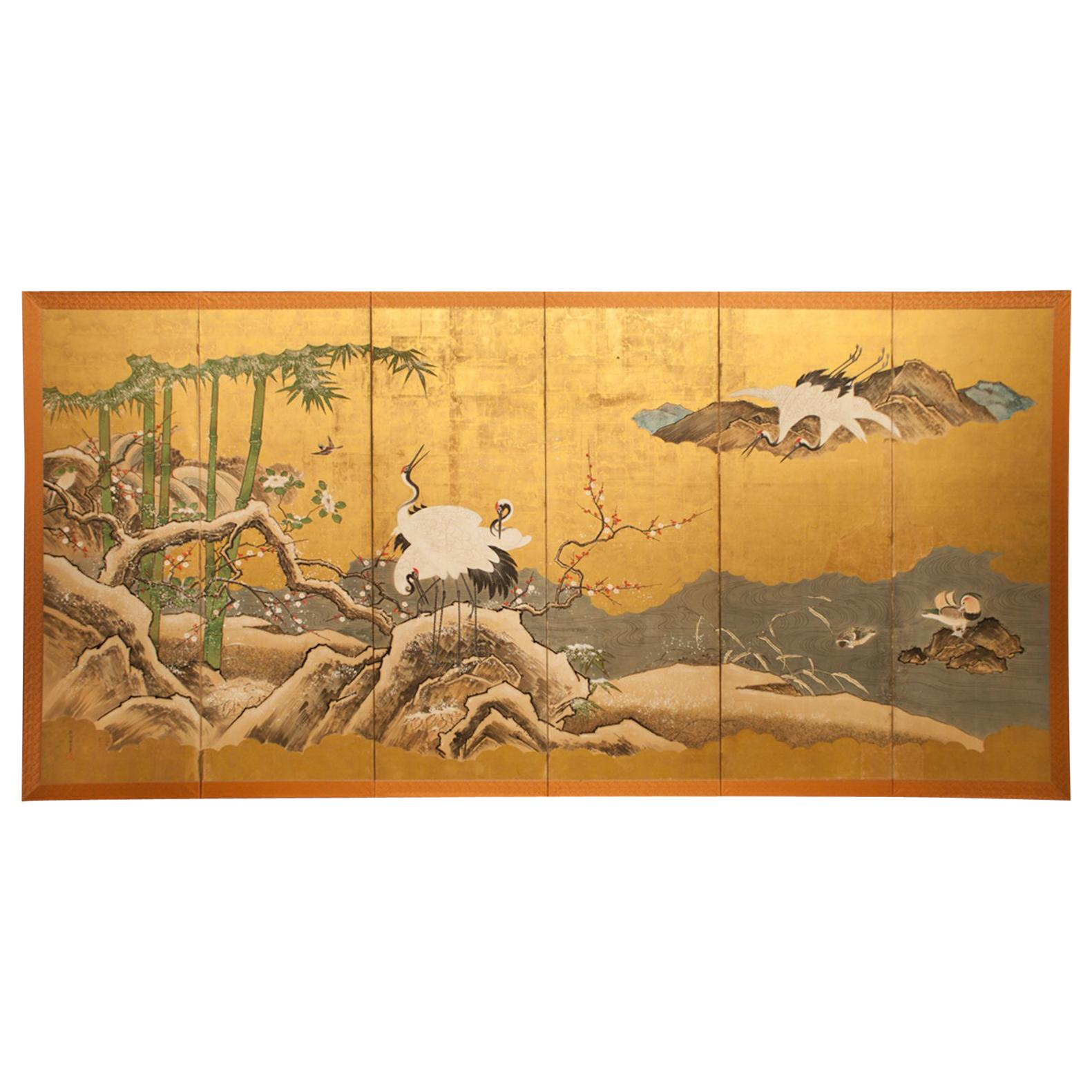 Japanese Six Panel Screen, Snow Scene at Water's Edge