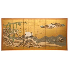 Japanese Six Panel Screen, Snow Scene at Water's Edge